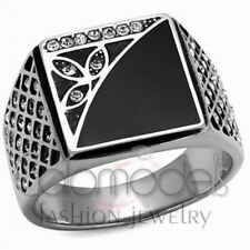 A806 SPARKLING CLEAR SIMULATED DIAMOND 316L STAINLESS STEEL HIGH POLISHED RING