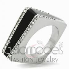 A699 SPARKLING CLEAR SIMULATED DIAMOND 316L STAINLESS STEEL HIGH POLISHED RING