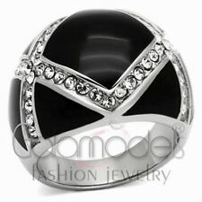A643 SPARKLING CLEAR SIMULATED DIAMOND 316L STAINLESS STEEL HIGH POLISHED RING