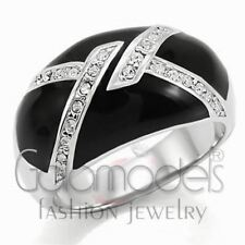 A628 SPARKLING CLEAR SIMULATED DIAMOND 316L STAINLESS STEEL HIGH POLISHED RING