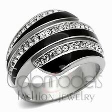 A644 SPARKLING CLEAR SIMULATED DIAMOND 316L STAINLESS STEEL HIGH POLISHED RING