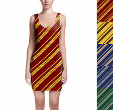 Harry Potter Inspired House Stripes Bodycon Dress Sizes XS-3XL Sleeveless Stretc
