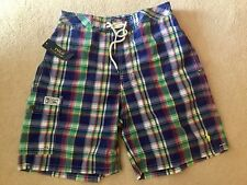 RALPH LAUREN POLO MULTI CHECK LONG SWIM SHORTS BRAND NEW WITH TAGS