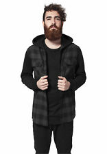 Hooded Checked Flanell Sweat Sleeve Shirt Urban Classics Streetwear Camicia Uomo
