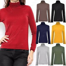 NEW LADIES CRINKLE POLO TURTLE NECK TOP WOMENS JERSEY RUFFLE STRETCH TOPS 8-14