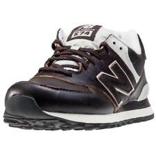 New Balance 574 Classic Tennis Court Mens Brown Leather Casual Trainers Lace-up