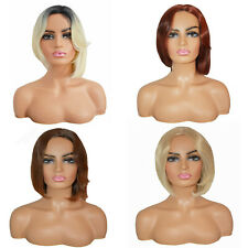 Ladies Forever Young Blonde Brown Auburn Short Cropped Bob Wig Full Wig UK Wigs