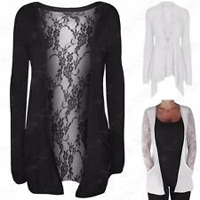 NEW LADIES FLORAL LACE OPEN CARDIGAN WOMENS NET LOOK WRAP WATERFALL CARDI TOP