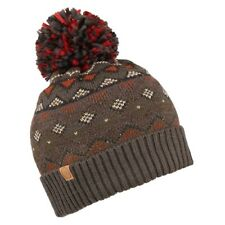 Cooper Fair Isle Knitted Pattern Wool Blend Bobble Beanie Hat (Brown or Blue)