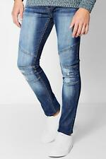Boohoo Skinny Fit Jeans with Biker Panelling para Hombre