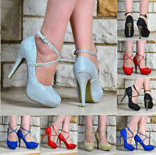 LADIES SPARKLY GLITTER CROSS ANKLE STRAP STILETTO HIGH HEEL PLATFORM PARTY SHOES