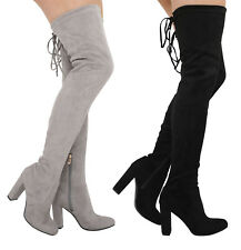 S331 - Ladies Faux Suede Over The Knee Stretch Thigh High Heel Boots - UK 3 - 8