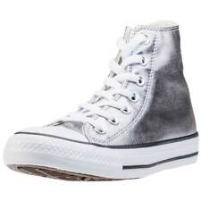 Converse Chuck Taylor All Star Hi Womens Silver Textile Casual Trainers Lace-up