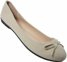 S370 - Ladies Faux Suede Ballerinas Casual Bow Ballet Pumps Shoes - UK 3 - 8
