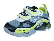 Geox J LT Eclipse B Flash Light Boys Hook & Loop Trainers / Shoes - White Lime