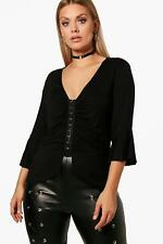 Boohoo Plus Imogen Eyelet Detail Rouched Top per Donna