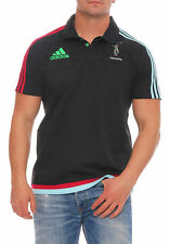 Adidas Arlequines Rugby Camiseta Polo Hombres Negro T-Shirt Climalite NUEVO