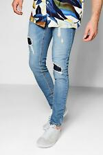 Boohoo Blue Denim Skinny Fit Jeans With Patchwork Knees per Uomo