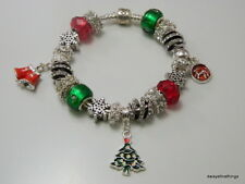 AUTHENTIC PANDORA BRACELET WITH CHARMS HOLIDAY CHEER CHRISTMAS 2017 HINGED BOX