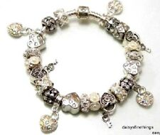 AUTHENTIC PANDORA BRACELET WITH CHARMS LOVE HEARTS AND BLING HINGED BOX