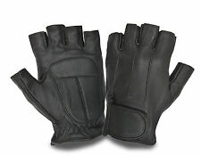 Men's Leather Finger Less Driving Gloves Car Bikers Wheelchair Chauffeur Style