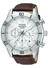 .PNP OS PT3433X1 Pulsar Mens Gents Chronograph Date Leather Strap Sports Watch