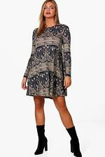 Boohoo Abbie Paisley Brushed Knit Swing Dress per Donna
