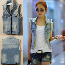 donna giacca jeans casual Denim Gilet in adatta TOP NUOVO DT39