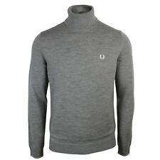 FRED PERRY JUMPER MENS STEEL MARL KNIT ROLL NECK SWEATER