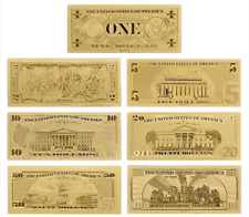 USD Dollar 24K Gold Banknotes Money American Gift Golden Amazing Mint NEW
