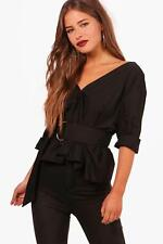 Boohoo Petite Molly Off The Shoulder Belted Shirt per Donna