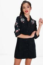 Boohoo Petite Kelly Cord Embroidered Shirt Dress para Mujer