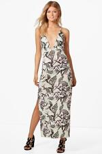 Boohoo Petite Tiffany Tropical Print Plunge Maxi Dress para Mujer