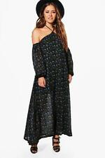 Boohoo Petite Iris Floral Print Open Shoulder Maxi Dress para Mujer
