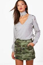 Boohoo Tall Lucia Choker Lace Up Eyelet Sweat per Donna