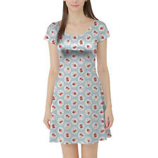 Shabby Chic Florals on Blue Short Sleeve Dress XS-5XL Flared