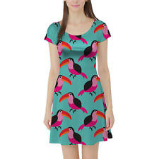 Tropical Tucan Paradise Short Sleeve Dress XS-5XL Flared