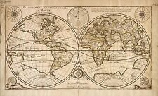 Poster Print Antique Old Maps 1676 Reprinted French Map Of World Planisphere