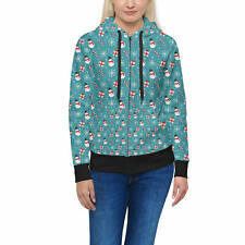 Snowmen and Candy Canes Women Zip Up Hoodie XS-3XL