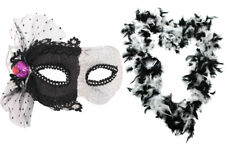 MASQUERADE EYE MASK + FEATHER BOA GLITTER CARNIVAL MASKED BALL ACCESSORY