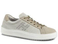 Hogan H302 men's trainers shoes in beige suede leather