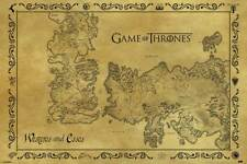 Game of Thrones - Antique Map - Film Movie - Poster Druck - Größe 91,5x61 cm