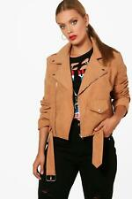 Boohoo Plus Izzy Belted Suedette Jacket para Mujer