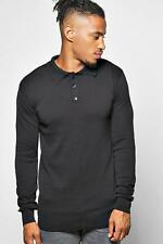 Boohoo Long Sleeve Knitted Cotton Polo para Hombre