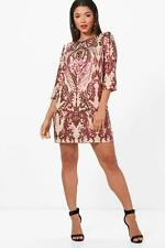 Boohoo Boutique Emily Sequin Print ¾ Sleeve Shift Dress para Mujer