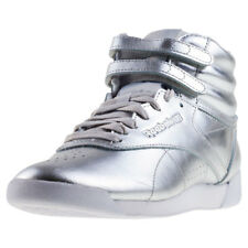 Reebok Freestyle Hi Metallic Womens Silver Leather Casual Trainers Lace-up