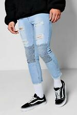 Boohoo Blue Wash Cropped Biker Jeans In Skinny Fit para Hombre