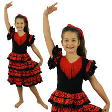 GIRLS FLAMENCO COSTUME SPANISH SENORITA FANCY DRESS DANCE RUMBA KIDS CHILDS