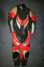 MENS BELSTAFF STING 1 PIECE BLACK RED GREY GOLD LEATHER MOTORCYCLE SUIT
