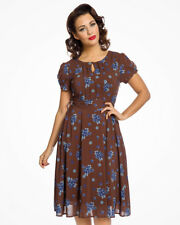 Lindy Bop BRETTA Marrón Chocolate Floral 1940s Vestido TEA DRESS -